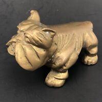 Vintage Bulldog Puppy Dog Metal Paperweight Figure Brass