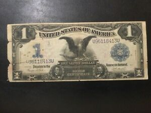 1899 SILVER CERTIFICATE LARGE NOTE - ONE DOLLAR BLACK EAGLE!