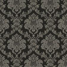 Exclusive Italian Silks Black Grey Damask Vinyl Wallpaper (IS11004)