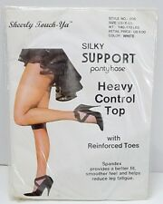 Sheerly Touch-Ya Pantyhose Silky Support Heavy Control Top White size Large XL
