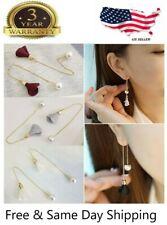 Newly Women Gold Silver Plated Crystal Flower Drop Long Dangle Chain Earrings