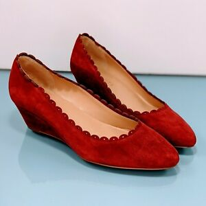 New TALBOTS Womens 6.5 M Burgundy Wine Red Suede Slip On Low Wedge Heels Shoes