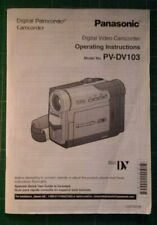 PANASONIC PV-DV103 Digital Camcorder Manual