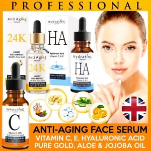 24K Gold Face Serum Vitamin C Hyaluronic Acid Anti Aging -Wrinkle Whitening 30ml