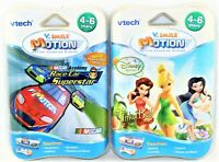Lot of 2 Vtech V.Smile V Motion Tinker Bell & Race Car Superstar Learning Games