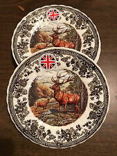 Queen's Quintessential Game 4 SALAD DESSERT PLATES Stag / Deer Thanksgiving NEW!