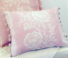 "NEW Kate Forman Delilah Pink Linen Fabric 17""X13"" Pom Pom or Piped Cushion Cover"