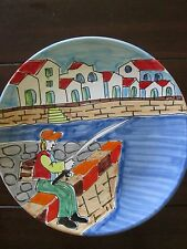 "Vtg R.H. Macy's and Co. The Cellar handpainted 10"" plate fisherman Made in Italy"