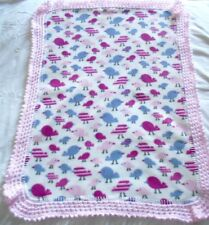 New Fleece Baby Blanket, Hand knitted frill, Birds, 85cm x 62cm