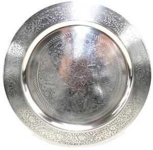 PLATZTELLER Orient Deko Teller orientalisch SILBER CHROM Ø 33 cm Dekoration ~vds