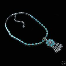 GORGEOUS Sterling Silver Natural Turquoise Flower Necklace .925