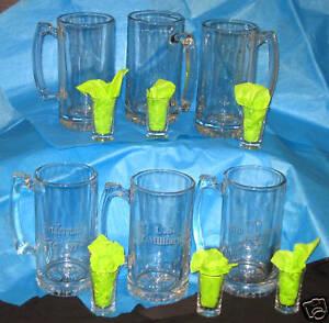 25 oz. Engraved Glass Beer mug and Shot Glass sets