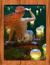 """TIN-UPS TIN Sign """"Mermaid Lookout"""" Vintage Art Poster Painting Red Head"""