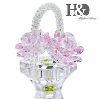 Crystal Pink Rose Flower Basket Figurines Craft Collectibles Cut Glass Ornaments