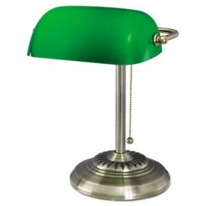 Alera L557BR Traditional Banker's Lamp, Green Glass Shade, Antique Brass Base,