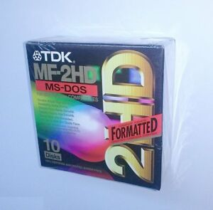 """TDK 10x Floppy Discs MF-2HD 3.5"""" Formatted Diskettes (Brand New & sealed)"""
