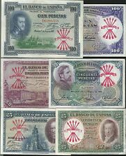 LOTE 6 BILLETES REPUBLICA PESETAS 1925 1931 RESELLO FALANGE CIVIL RARISIMO