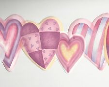 Pink Mauve Hearts for Girls - 45 feet Free Usa Ship - Wallpaper Border A020