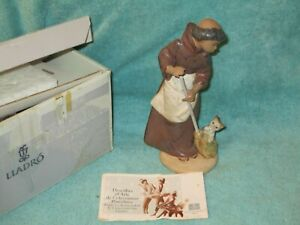 "Lladro #2203 Monk W/CAT Figurine ""Afternoon Chores"" Matte Finish"