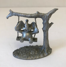 """Figurine, Spoontiques elephant on swing, #392, pewter 2 1/4"""" high 2 5/8"""" wide"""