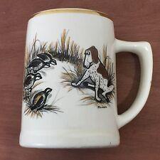 Vintage BIRD DOG & QUAIL Coffee Mug Cup Made In USA Quail Hunting Delano HUMOR