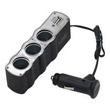 Car Cigarette Lighter Multi Socket Triple Splitter 3-Way USB Charger Adapter 12V