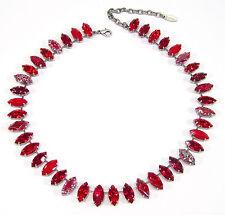 SoHo® Collier Halskette vintage bohemia Glas navette rot böhmisches Glas 1960er