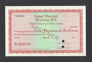 Saint Vincent  , Treasury Bill 1000$ Specimen Uncirculated