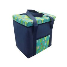 Insulated Picnic Cool Bag Zipped With Handles Blue Cactus Design 28 Litre NEW