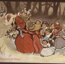 RARE.!  BLACK AMERICANA,SANTA CHASED BY KIDS,STOCKINGS,FATHER CHRISTMAS POSTCARD