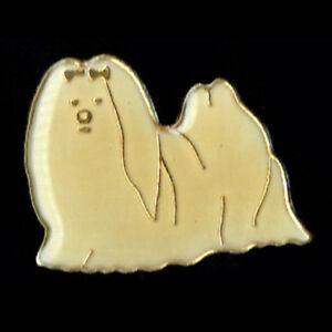 Vintage Enamel Pin 70's 80's Cute Retro Novelty Shitzu Dog