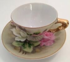 Demitasse Cup And Saucer Pink Rose Floral Marked Hand Painted 2AD325