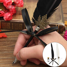 Black Vintage 35cm Quill Dip Pen + 10ml Ink Set Gift Accessory Feather New