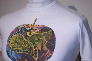 Pretty Green Big Paisley Apple Logo Print T-Shirt - XS - White - Mod Casuals Top