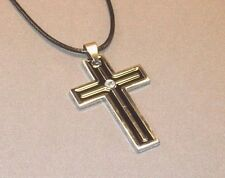 Christian Pendant Necklace CROSS w BLACK ENAMEL Rhinestone Accent LOW STOCK!!