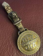 Antique Winton Six Automobile Pocket watch fob, leather strap! Rare!