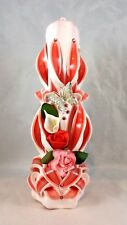 "Decorative 8"" hand made carved pillar candle"