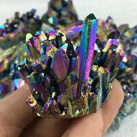Top!Natural Quartz Crystal Rainbow Titanium Cluster VUG Mineral Specimen Healing