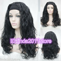 Charm Ladies wig Long Black 3/4 with headband curly Wavy half wigs