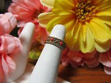 Gold Plated Coral Womens Girls  Fashion Ring Sz 4.5