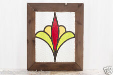 Antique Stained Glass Window Three Color Art Nouveau Tulip                (2974)