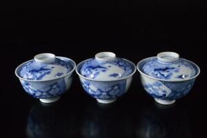 P3689: Japan Old Imari-ware Flower Landscape Pattern TEA BOWL/dish of soup 3pcs