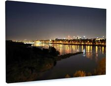STUNNING NIGHT CITY RIVER REFLECTIONS CANVAS PICTURE PRINT CHUNKY FRAME #3668