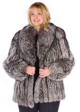 Womens Real Silver Fox Fur Jacket Coat Plus Size – Shawl 29