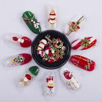 10PCS 3D Christmas Alloy Rhinestone Nail Art Decorations DIY Manicure Tips Tool