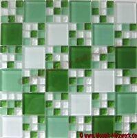 Glasmosaik Kombination mix grün/grün matt Fliesenspiegel Art: 78-0504  10Matten