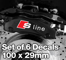AUDI S-LINE Quality Brake Caliper Decals Stickers - 100mm x 29mm - 6 DECALS