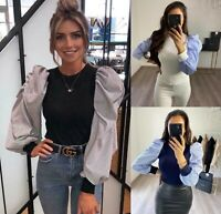 Women's Ladies Fine Ribbed Striped Puff Sleeve Fashion Party Jumper Sweater Top
