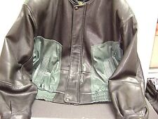 SAXONY MEN'S ALL LEATHER  BLACK AND OLIVE SIZE 44 JACKET.TOTALLY EXQUISITE !!