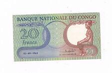 CONGO DEM REP P4 20 FRANCS 15-09-1962 YOUNG GIRL AUNC A ROND CORNER